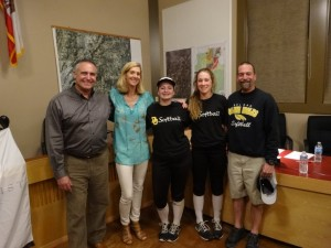 1490 Soroptimist Loomis Contributions to Del Oro Pool and Softball field projects – LtoR Dan Gayaldo, Grace Kamphefner, MacKenzie Parks, Olivia Moore & Sean Erickson